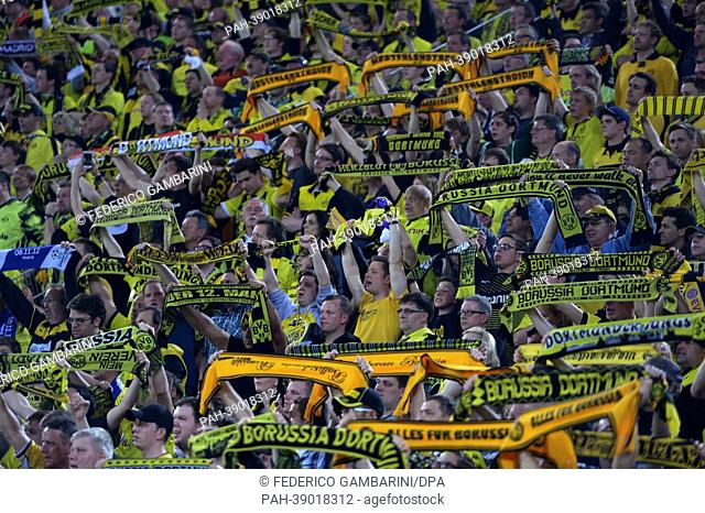 Dortmund's supporters cheer on the stands during the UEFA Champions League semi final first leg soccer match between Borussia Dortmund and Real Madrid at BVB...