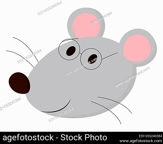 A Small Mouse in light pink color with large tail in white background vector color drawing or illustration