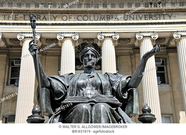 Alma Mater Statue in front of the Low Library, Columbia University, Manhattan, New York City, USA