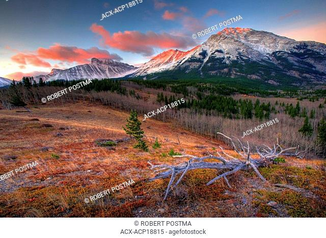 Sunrise and alpenglow above Crowsnest Pass on the border of Alberta and British Columbia, Canada