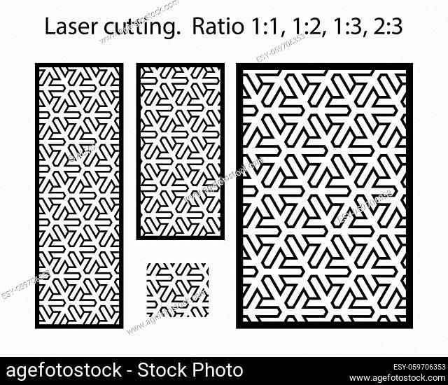 Plasma cutting pattern. Cnc geometric template set for metal panels and screens. Geometric laser cutting vector pattern