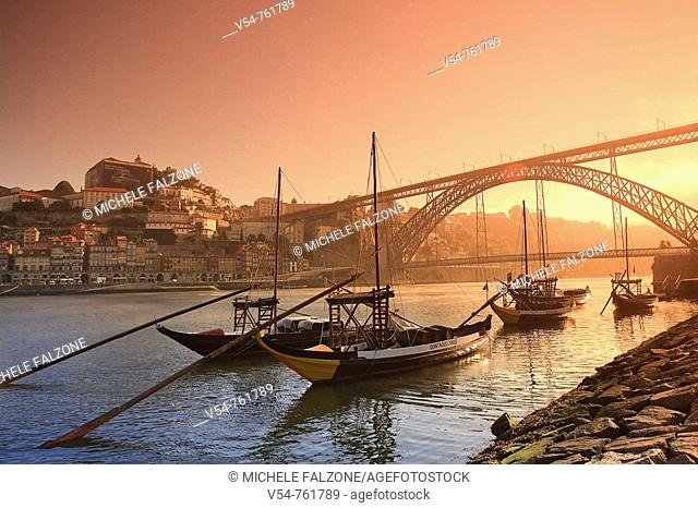 Porto Wine Carrying Barcos Barges, River Douro and city skyline, Porto UNESCO World Heritage, Portugal