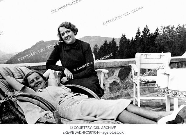 Eva Braun, girlfriend of Adolf Hitler and Mrs. Morell, wife of Hitler's personal physician at the Berghof. ca. 1945. Courtesy: C