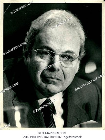 Dec. 12, 1981 - The United Nations, new York City.: The General Assembly appoints by acclamation Javier Perez de Cuellar as fifth secretary-General for a five...