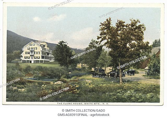 Postcard of the Flume House and surrounding landscape, White Mountains, New Hampshire, 1914. From the New York Public Library