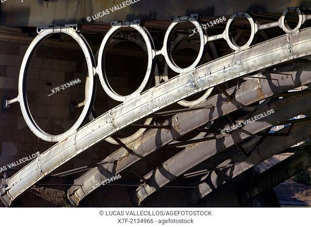 Detail of Isabel II bridge or Triana bridge. Guadalquivir river. Seville, Andalusia, Spain