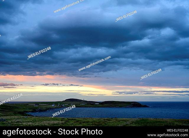 UK, Scotland, Storm clouds over Tiumpan Head