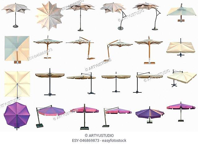 Set beach umbrella, sun protection. 3D graphic