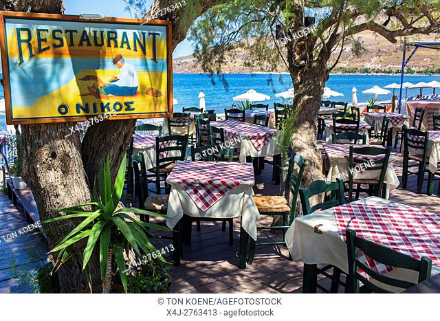 Empty restaurants on Levbos, Greece due to the refugee influx
