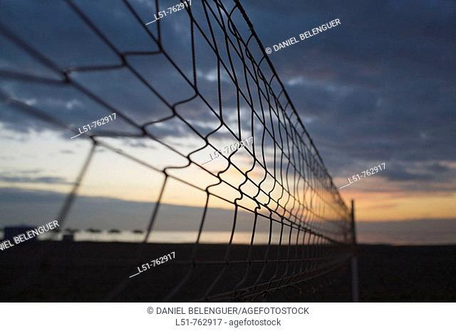 volleyball net on Malvarrosa Beach, Valencia, Comunidad Valenciana, Spain, Europe