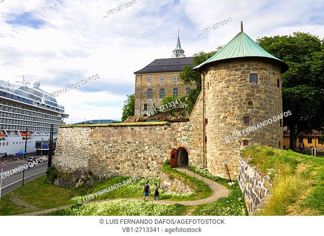 Akershus castle and cruise ship, Oslo, Norway