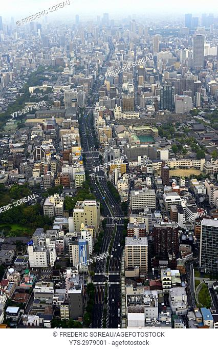 Aerial view of Osaka from Abeno Harukas tower, Osaka, Japan, Asia