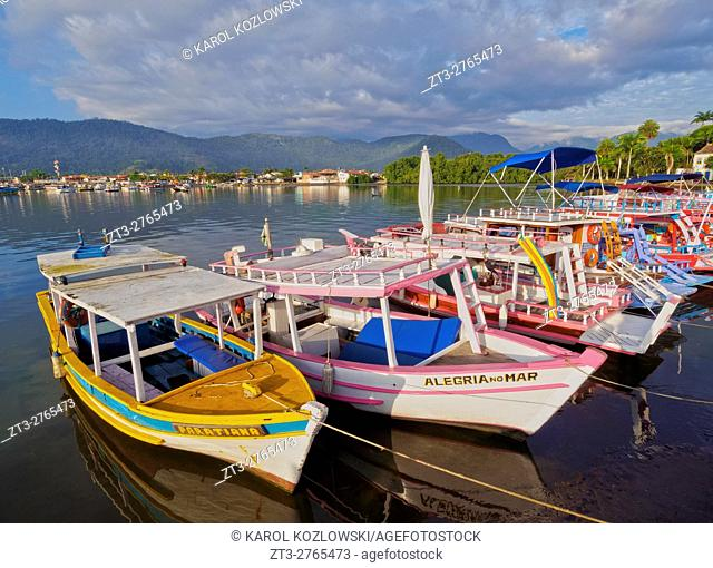 Brazil, State of Rio de Janeiro, View of the colourful boats in Paraty