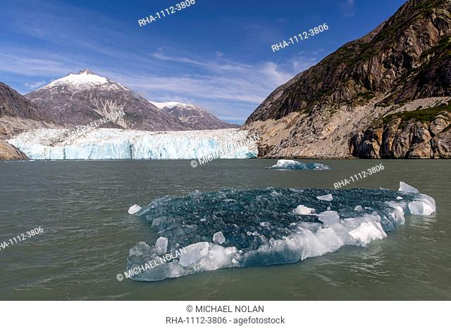 Blue ice in front of the Dawes Glacier in Endicott Arm in Southeast Alaska, United States of America, North America