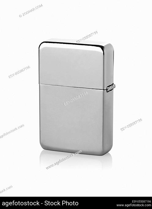 Closed metal lighter isolated on a white background