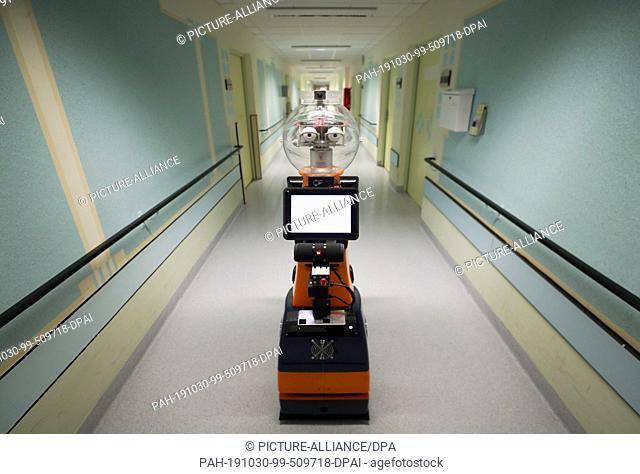 29 October 2019, Thuringia, Eisenberg: Robot Ringo waits on a corridor in the hospital Waldkliniken Eisenberg for a patient for walking training