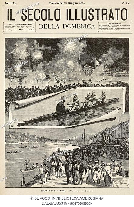 The races in Turin, Italy, drawing by Bonamore, illustration from Il Secolo Illustrato della Domenica, Year II, No 39, June 29, 1890