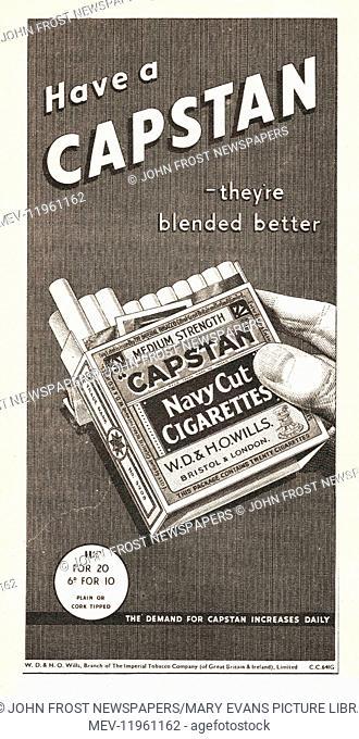 1939 UK Magazine Capstan Cigarette Advert