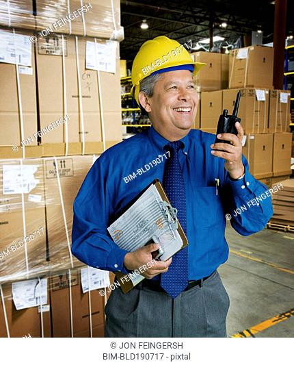 Hispanic man working in warehouse