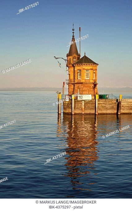 Harbour entrance, old harbour tower, Constance, Lake Constance, Baden-Württemberg, Germany
