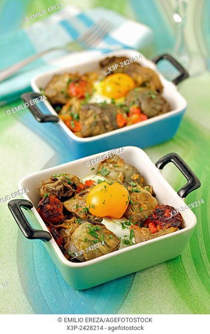 Artichokes with egg and chorizo