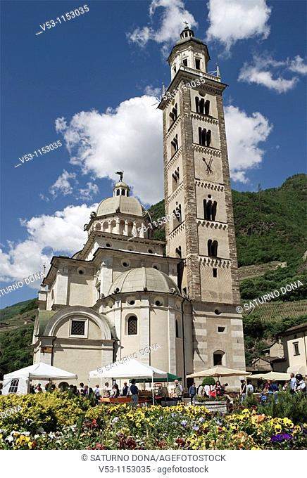 market under the Basilica della Madonna di Tirano - Tirano - Sondrio province - Valtelline - Lombardy - Italy