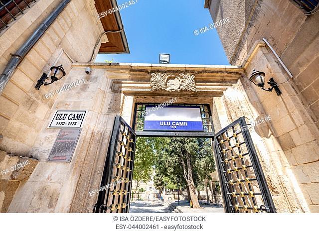 Gate of Ulu(Great) Mosque built between 1170-1175 in Sanliurfa, Turkey. 19 July 2018