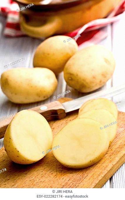 sliced raw potato