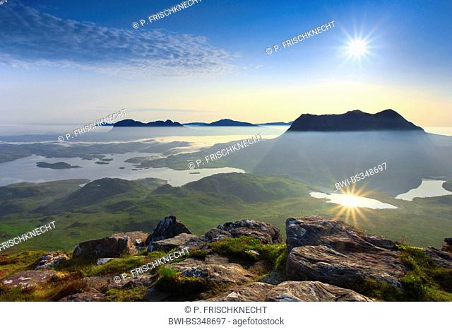 view onto Suilven and Cul Mor, United Kingdom, Scotland, Sutherland