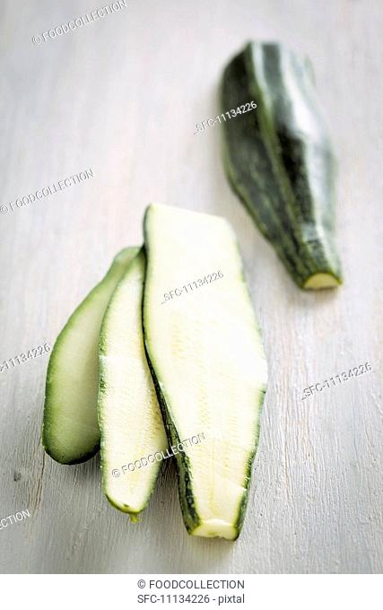 A sliced courgette