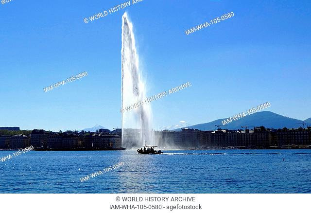 The water Jet on Lake Geneva, Switzerland. The Jet d'Eau is a large fountain in Geneva, Switzerland, and is one of the city's most famous landmarks
