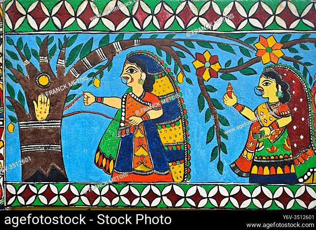 Madhubani style mural painting ( Darbhanga, Bihar, India). The Madhubani ( or Mithila) art is a traditional art form practised in northern India and southern...