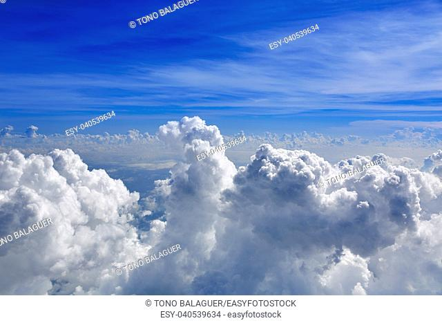 Cumulus sea of clouds view from aerial view aircraft point of view