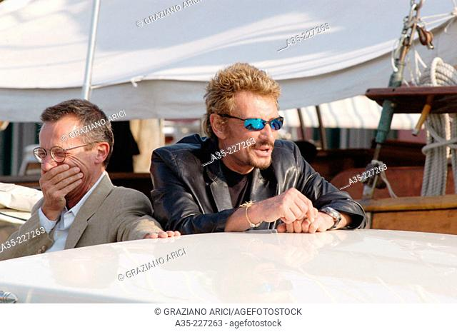 Johnny Hallyday and Patrice Leconte. Venice. Italy (2002)