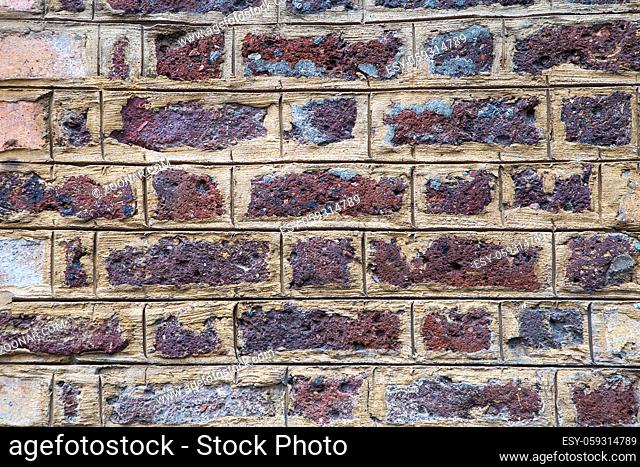 Red grunge brick wall background texture for design