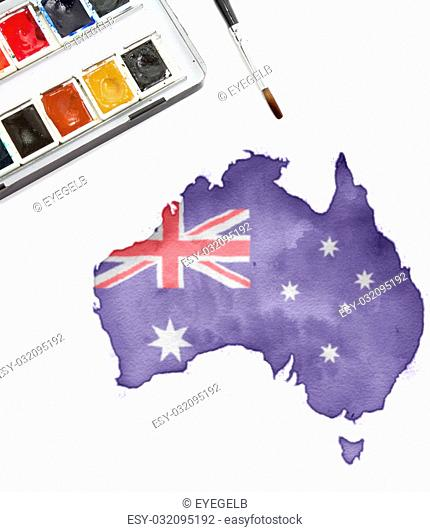 A watercolor painting of Australia in the national colors.(series)