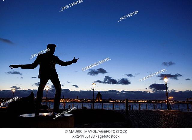 Silhouette of Billy Fury in Albert Dock, Liverpool, UK