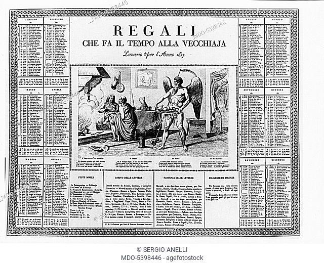 Gifts Making Time to Old Age - Almanac (Regali che fa il tempo alla vecchiaja - lunario), 1827, 19th Century, etching