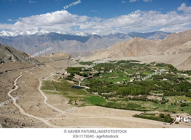 View of Leh's valley from road to Khardung La in Ladakh, India