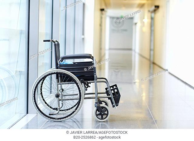Wheelchair. Onkologikoa Hospital. Donostia, San Sebastian. Gipuzkoa. Basque Country. Spain