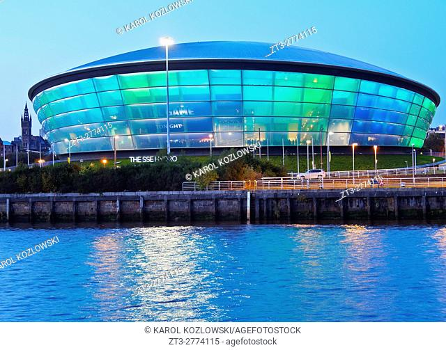UK, Scotland, Lowlands, Glasgow, Twilight view of the Hydro