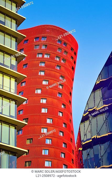 Hotel Porta Fira by Toyo Ito and Realia Tower by Toyo Ito. Also known as Toyo Ito Towers. Fira de Barcelona, Hospitalet del Llobregat, Barcelona province
