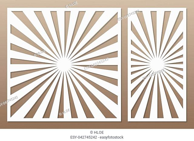 Template for cutting. Line, geometrical pattern. Laser cut. Set ratio 1:1, 1:2. Vector illustration