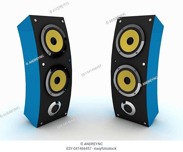 3d speakers. media concept . 3d rendered illustration