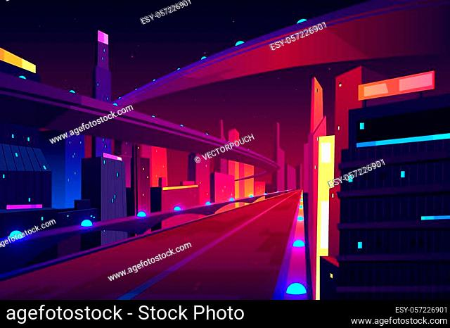 Night city road, empty streetscape freeway, speed two-lane highway, overpass or bridge in metropolis. Transport network infrastructure with urban skyscrapers in...