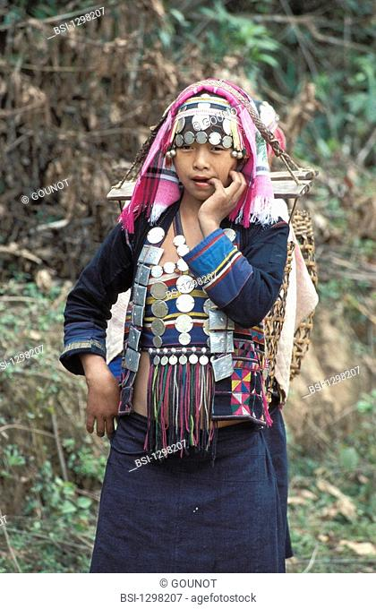 Woman in traditional clothing belonging to the ethnos of the Hmong. In the north of Laos live the tribe Ikos belonging to the ethnos Hmong or Meos from the...
