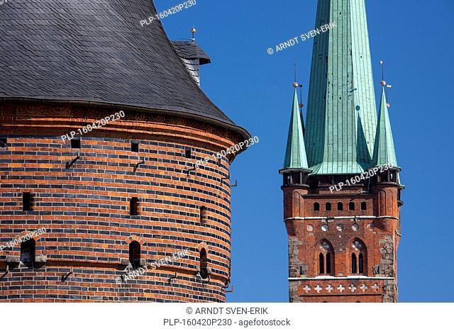 St. Petri-Church and Holstentor/ Holstein Gate in the Hanseatic town Lübeck, Schleswig-Holstein, Germany