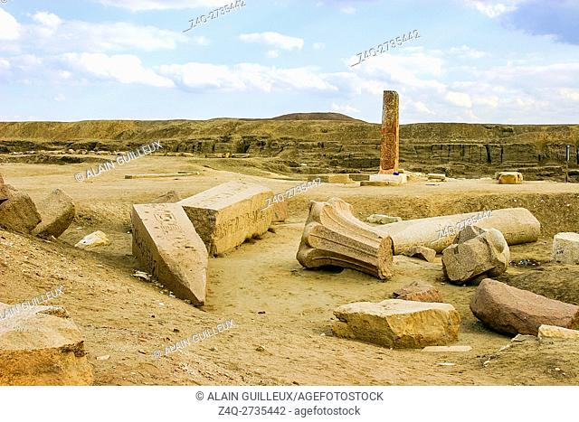 Egypt, Nile Delta, Tanis, First pylon, with reused palmiform columns. They come from Abusir and date from the Old Kingdom