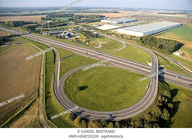 France, Yonne, the A6 Highway Exit at Courtenay aerial view