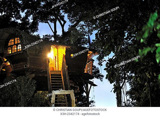 tree house at Habitation Getz, Vieux-Habitants, Basse-Terre, Guadeloupe, overseas region of France, Leewards Islands, Lesser Antilles, Caribbean